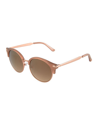 Round Acetate/Metal Brow-Line Sunglasses