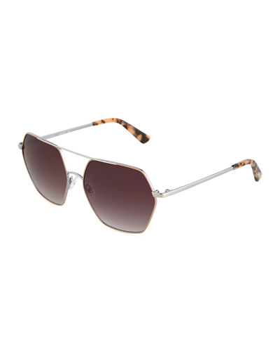Hexagonal Metal Aviator Sunglasses