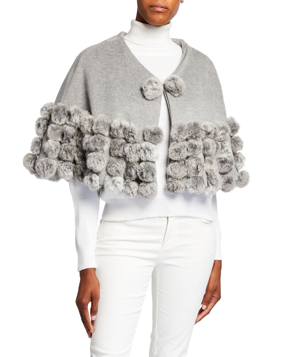 Adrienne Landau CASHMERE-BLEND CAPELET WITH FUR POMPOMS