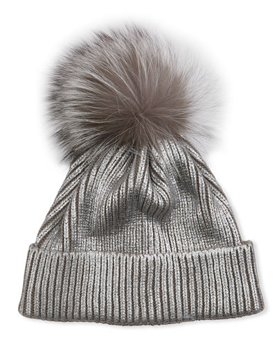 Metallic Knit Beanie with Fur Pompom