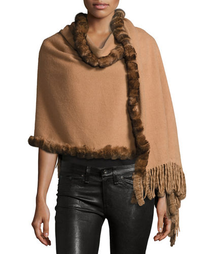 Rabbit Fur-Trim Wool Wrap