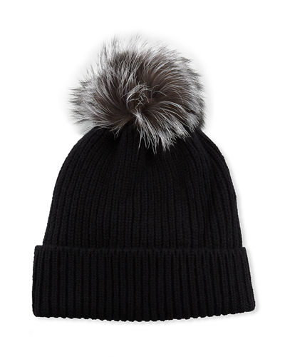 Knit Cashmere Beanie with Fur Pompom