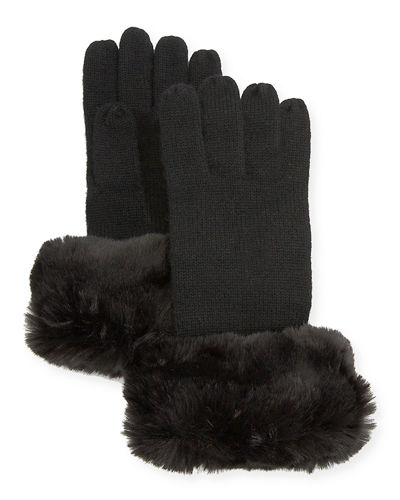 Cashmere Gloves w/ Faux Fur Cuff