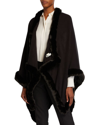 Faux-Fur Trimmed U-Cape