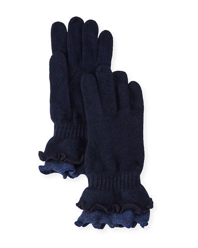 Double-Ruffled Wool-Blend Gloves