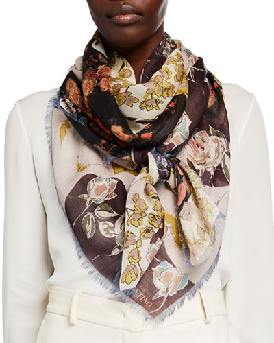 Garden Party Floral Cashmere/Silk Shawl