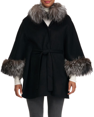 Wool/Cashmere Belted Fox Fur Cape
