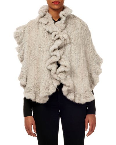 Mink Fur Knit Stole w/ Ruffled Trim