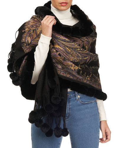 Paisley Double Face Cashmere Stole w/ Fur Trim