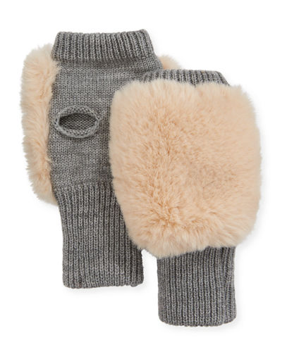 Fingerless Faux-Fur Mittens