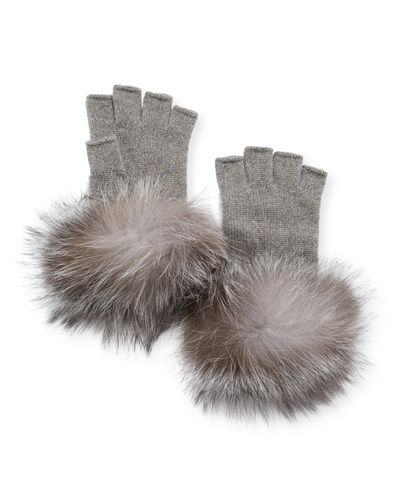 Metallic Knit Fingerless Gloves w/ Fur Cuffs