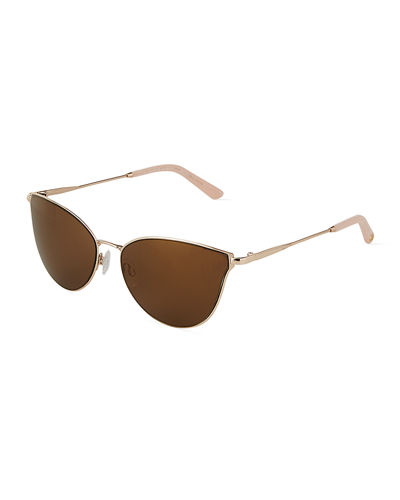 Metal Rounded Cat-Eye Sunglasses