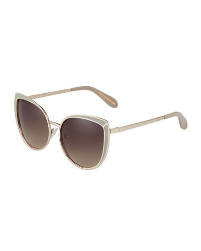 BCBGMAXAZRIA Oversized Epoxy/Metal Cat-Eye Sunglasses
