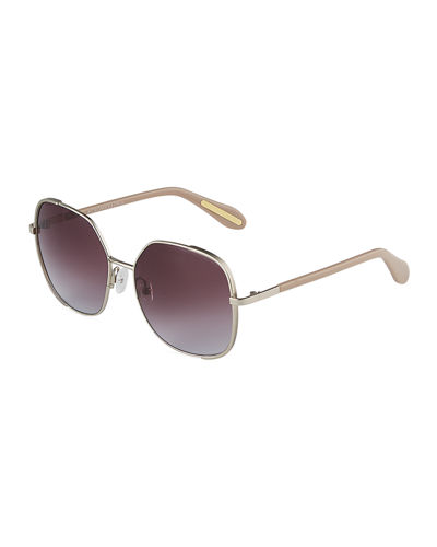 Oversized Round Metal/Acetate Sunglasses