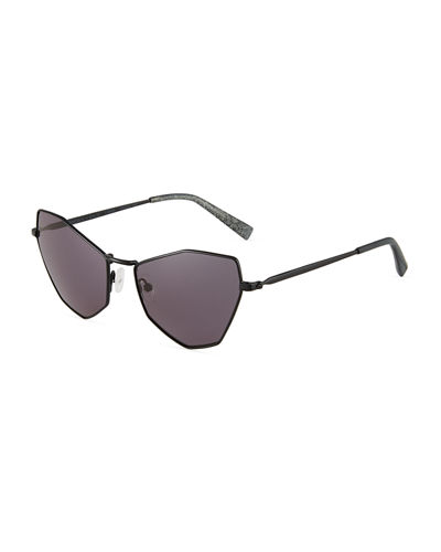 Liara Irregular Metal Cat-Eye Sunglasses