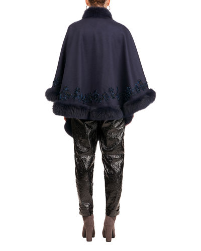Fox-Trim Embroidered Wool-Blend Cape