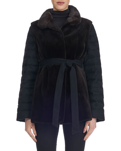 Sheared Mink Fur Jacket with Detachable Cashmere/Down Sleeves