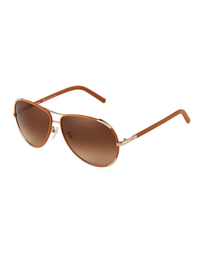 Acetate/Metal Aviator Sunglasses