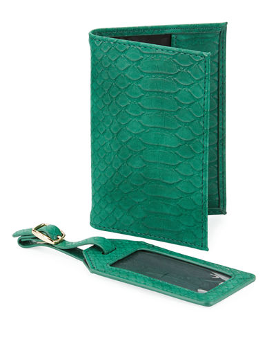 Snake-Embossed Passport Holder & Luggage Tag Boxed Set