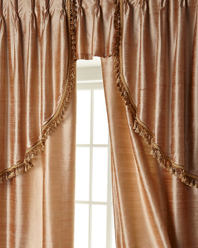 "Two 52""W x 108""L Curtains with Tassel Fringe at Bottom"