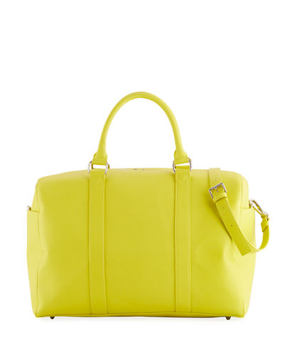 Faux-Saffiano Weekender Duffel Travel Bag
