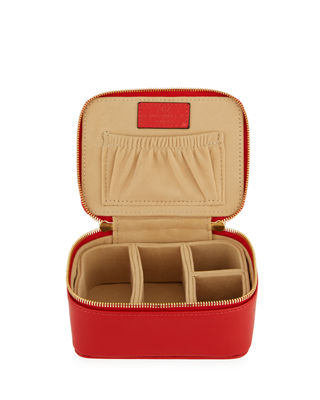 NEIMAN MARCUS LARGE SAFFIANO JEWELRY CASE, RED
