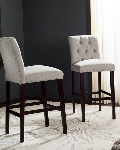 Norah Tufted Linen Bar Stools  Set of 2