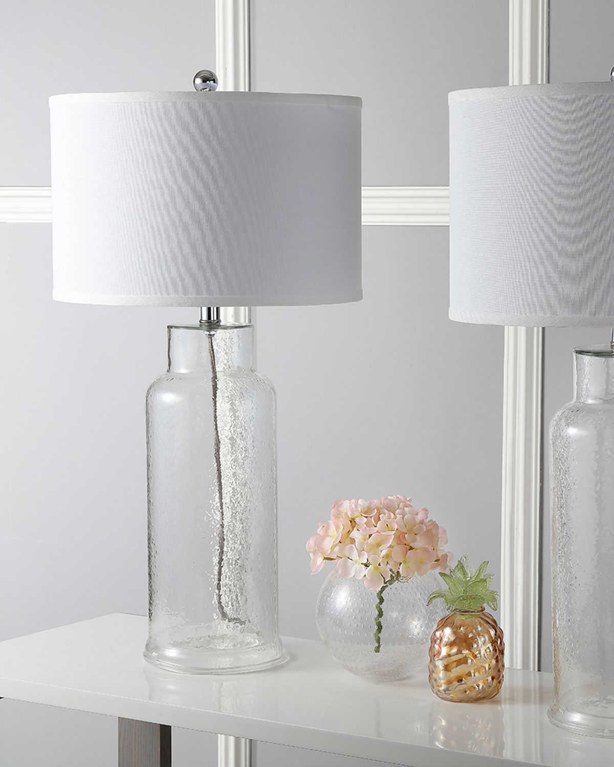 Bottle Glass Hammered Table Lamps, Set of 2