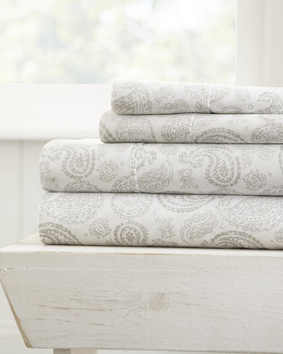 Paisley-Patterned 4-Piece Bed Sheet Set, Queen