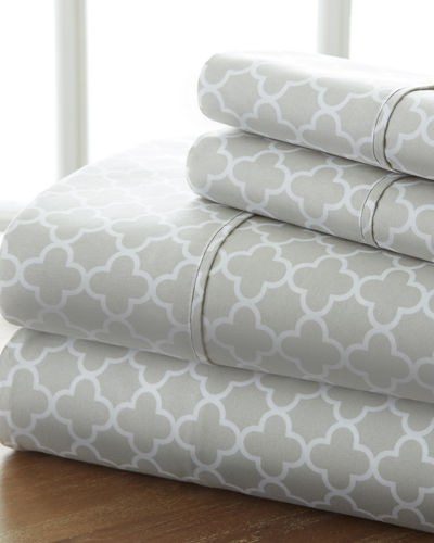 Puffed Chevron 4-Piece Bed Sheet Set  Queen