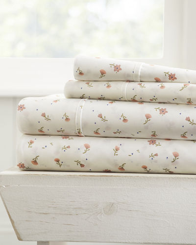 Floral 4-Piece Bed Sheet Set  King