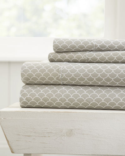 Scallop-Patterned 4-Piece Bed Sheet Set, King