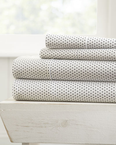 Stippled 4-Piece Bed Sheet Set, California King