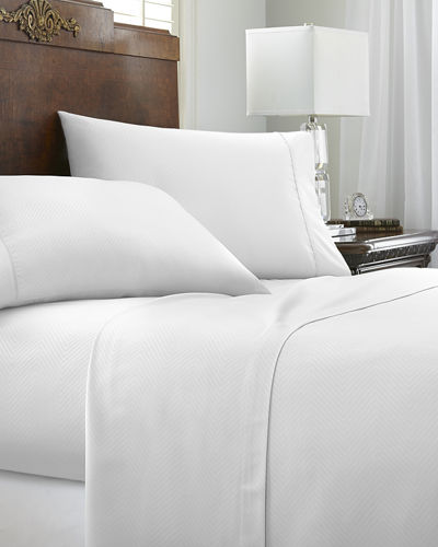 Embossed Chevron 4-Piece Bed Sheet Set, Full
