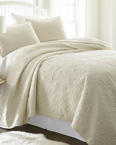 Damask-Stitched 3-Piece Quilted Coverlet Set  Queen