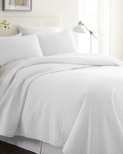 Herring-Stitched 3-Piece Quilted Coverlet Set  King