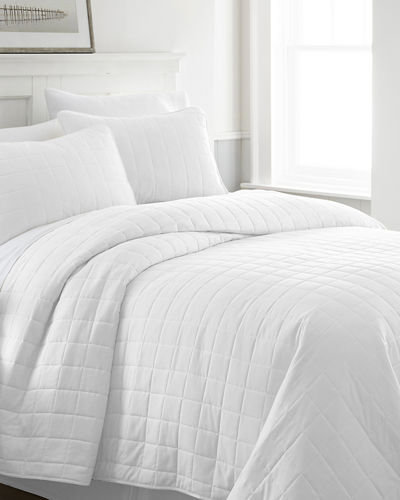 Square-Stitched 3-Piece Quilted Coverlet Set  Queen