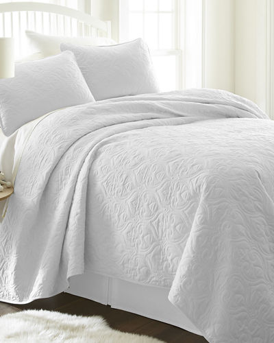 Damask-Stitched 3-Piece Quilted Coverlet Set  King