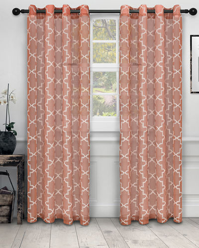 Quatrefoil Embroidered Semi-Sheer Curtain Panel Pair  84