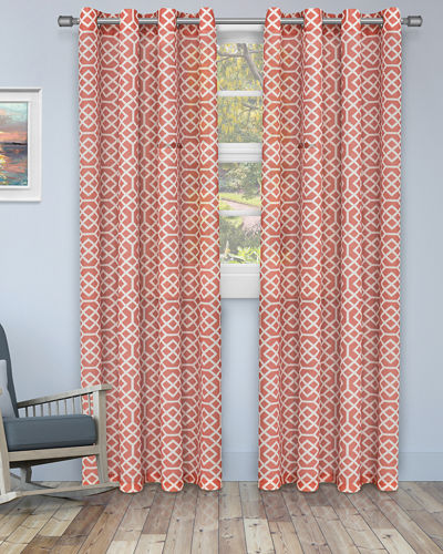 Honeycomb Embroidered Sheer Curtain Panel Pair  84