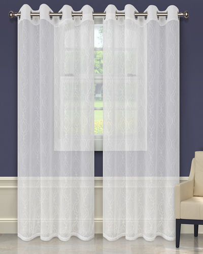 Imperial Trellis Embroidered Sheer Curtain Panel Pair, 96""