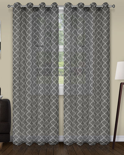 Trellis Printed Sheer Curtain Panel Pair, 96""