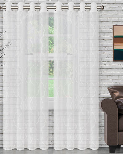 Lattice Embroidered Sheer Curtain Panel Pair, 63""