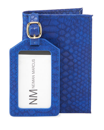 Croc-Print Faux Leather Passport Cover & Luggage Tag Set