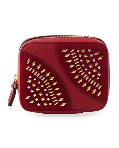Studded Zip Travel Jewelry Case