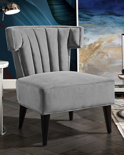 Channel-Quilted Velvet Accent Chair