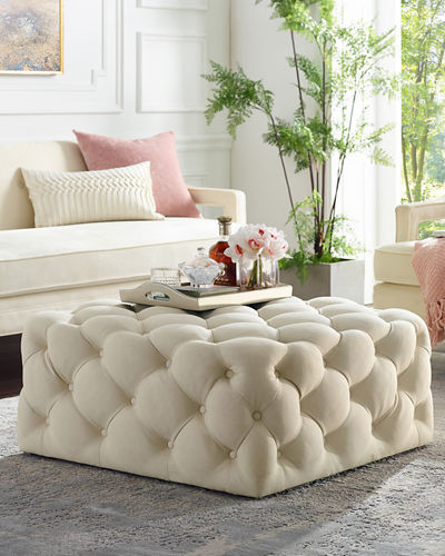 Quilted Velvet Cocktail Ottoman