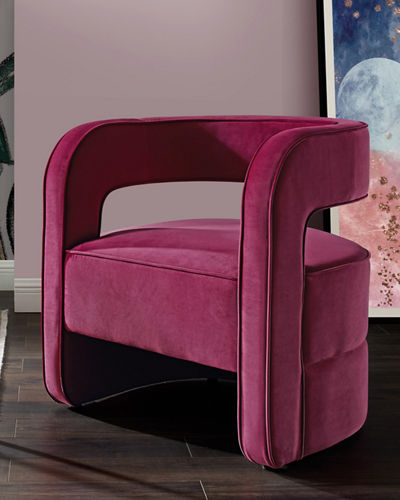 Velvet Open-Back Accent Chair