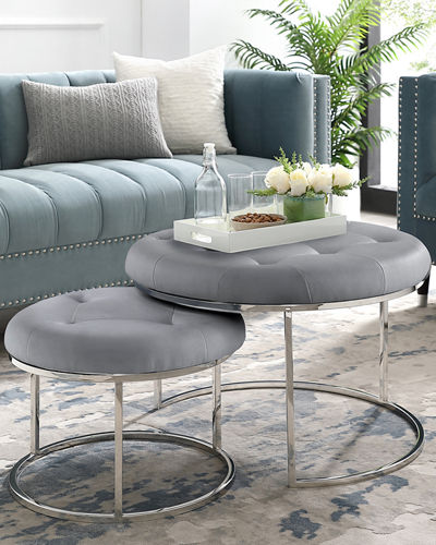 Quilted Faux Leather Nesting Ottomans  Set of 2