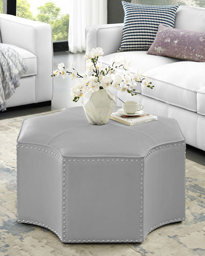 Faux Leather Cocktail Ottoman